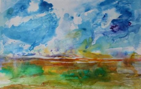 """""""Inky summer sky and field"""" 14"""" x 10"""" Inks on A3 mixed media paper 250gsm"""