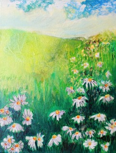"""Daisies"" 10""x 8""x ½"" Inks on Streched Canvas"