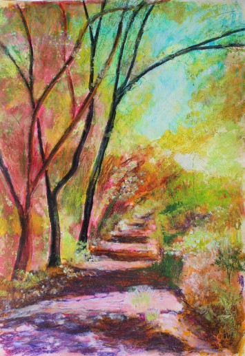 Golden glade - watersoluble oil pastels and inks