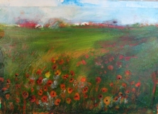 Poppy field with buildings 130K